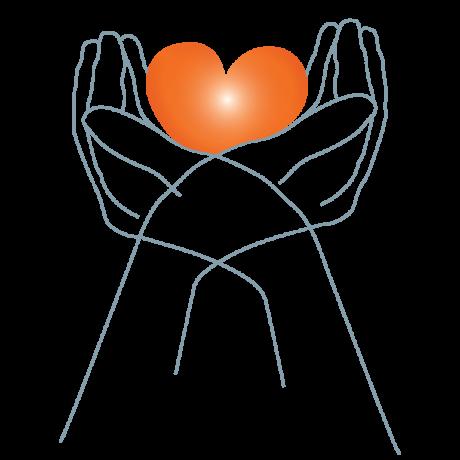 Grafik: die Umrisse zwei sich überkreuzender Hände halten ein rotes Herz in den Handinnenseiten.